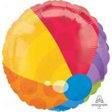 Round Multi Colour Standard XL Beach Ball Foil Balloon 45cm