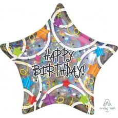 Happy Birthday Stars Foil Balloon