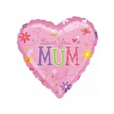 Heart Mother's Day Standard Love You Mum Shaped Balloon 45cm