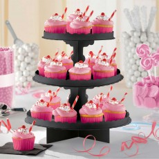 Black Party Supplies - Cupcake Stand 3 Tier