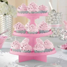 New Pink 3 Tier Treat Cupcake Stand 29cm
