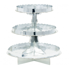 Silver 3 Tier Treat Cupcake Stand 29cm