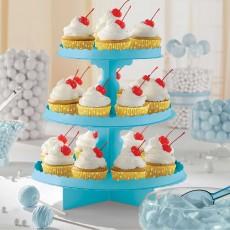 Caribbean Blue 3-Tier Treat Cupcake Stand 29cm