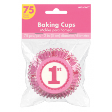 Pink Girl's 1st Birthday Standard Cupcake Cases Pack of 75