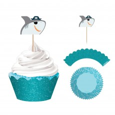 Ahoy Glittered Paper Wraps, Picks & Cupcake Cases Pack of 24
