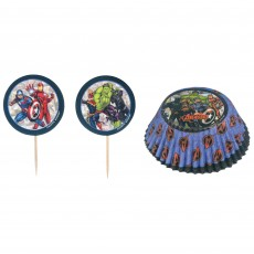 Avengers Party Supplies - Cupcake Cases Marvel Powers Unite Cake Picks