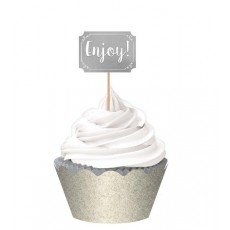 Silver Foil Hot Stamp Liners, Picks, Wraps & Cupcake Cases Pack of 24