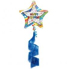 Star Happy Birthday Shag Coil Tail Wavy Pattern XL Airwalker Foil Balloon