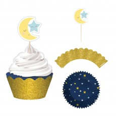 Twinkle Little Star Glittered Paper Wraps, Party Picks & Cupcake Cases Pack of 24