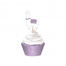 Llama Fun Glittered Wraps, Picks & Cupcake Cases