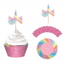 Magical Rainbow Glittered Paper Wraps, Picks & Cupcake Cases Pack of 24