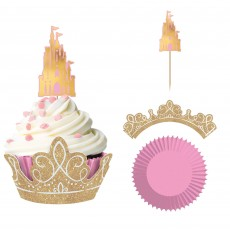 Disney Princess Once Upon A Time Glittered Wraps, Picks & Cupcake Cases Pack of 24