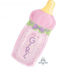 Baby Shower - General SuperShape XL Baby Bottle It's a Girl Shaped Balloon 33cm x 79cm