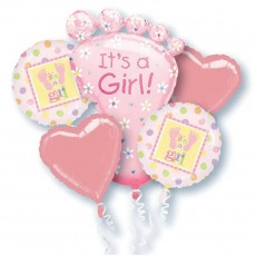 Baby Shower - General Bouquet It's a Girl! Foil Balloons Pack of 5