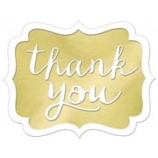 Thank You Party Decorations - Stickers Gold