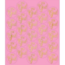 Baby Shower - General Pink Seals Stickers