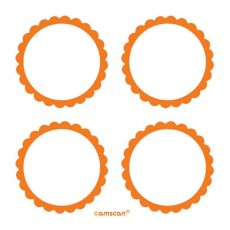 Orange Party Supplies - Scalloped Labels