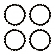 Black Party Supplies - Scalloped Labels
