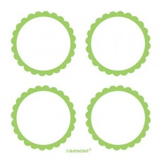 Green Party Supplies - Scalloped Labels
