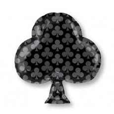 Casino Party Decorations Junior Black Club Shaped Balloons