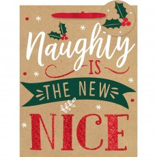 Christmas Party Supplies - Favour Bag Medium Naughty is the New Nice