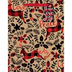 Christmas Party Supplies - Favour Bag Medium & Gift Tag Peace Love Joy