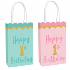 Girl's 1st Birthday Party Supplies - Favour Bags Glittered Kraft