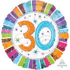 30th Birthday Radiant Prismatic Foil Balloon