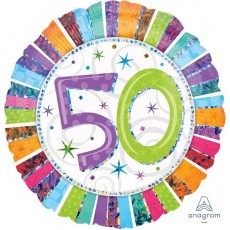 50th Birthday Radiant Birthday Standard Holographic Foil Balloon