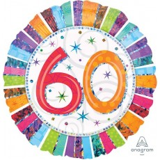 60th Birthday Radiant Birthday Standard Holographic Foil Balloon