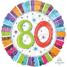 80th Birthday Radiant Birthday Foil Balloon