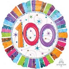 100th Birthday Radiant Birthday Standard Holographic Foil Balloon