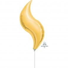 Curve Gold Shaped Balloon 25cm x 71cm