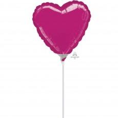 Heart Fuchsia Magenta Foil Balloon 10cm
