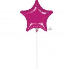 Star Fuchsia Magenta Foil Balloon 10cm