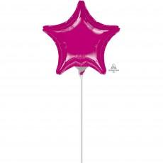 Star Fuchsia Magenta Shaped Balloon 22cm