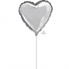 Heart Silver Shaped Balloon 10cm