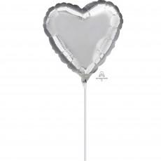 Heart Silver Shaped Balloon 23cm