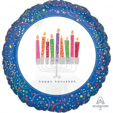 Hanukkah Standard XL Playful Menorah Foil Balloon