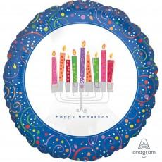 Hanukkah Standard XL Playful Menorah Foil Balloon