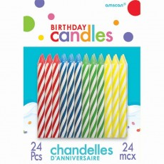 Primary Multi Coloured Stripes Sparkle Candles Pack of 24