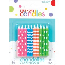Neon Assorted Multi Colour Candles Pack of 10