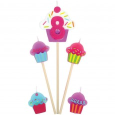 Number 8 & Cupcakes Mini Candles