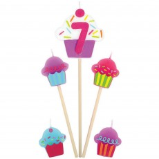 Number 7 & Cupcakes Mini Candles