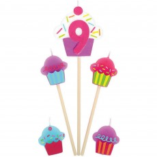 Number 9 & Cupcakes Mini Candles