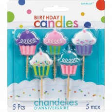 Multi Colour Cupcake Pick Candles
