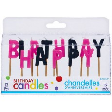 Happy Birthday Black & Pink Toothpick Candles