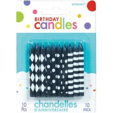 Dots & Stripes Black & White  Candles