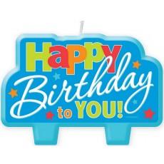 Happy Birthday Blue  Candle