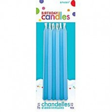 Blue Taper Candles Pack of 12